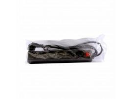 Podaljšek kabelski 6x220V  1,5m Bachmann s stikalom črn SELLY