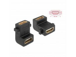 Adapter HDMI Ž - HDMI Ž 19-pin kotni vijačenje Delock