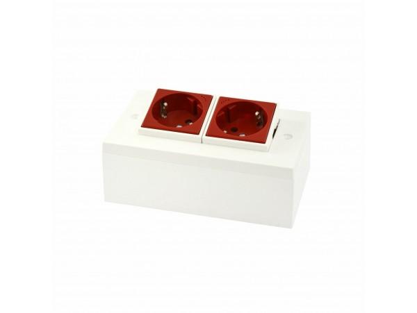 Vtičnica 100x50 2x220V rdeča nadometna