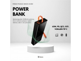 Napajalnik mobilni Baseus Power Bank 20.000, 65W, PD, QC3, SCP, vgrajen Tip C